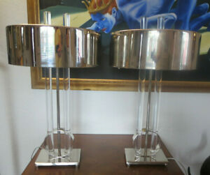 Pair Of Modern Lucite And Chrome Table Lamp