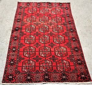 Vintage Persian Turkman Bukhara 4 X6 Handknotted 100 Wool Rug Ds 699