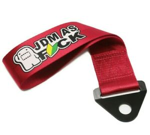 Universal Domo Jdm As Fck Red Racing Drift Rally Car Towing Strap Belt Hook