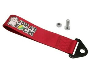 Domo Jdm As Fck High Strength Tow Strap For Front Rear Bumper Towing Hook Red