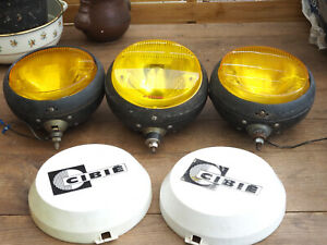 Rare Cibie Bi Oscar Yellow Fog Spot Lights Vintage French Set Of 3 With 2 Covers