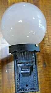 Vintage Cast Iron Wall Sconce With Globe Fully Restored 6850 2