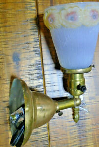 Vintage Tin And Painted Glass Sconce Nice Condition 7713 1