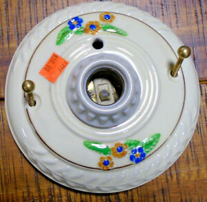 Vintage Porcelain Ceramic Ceiling Light Fixture Fully Restored 7777 1
