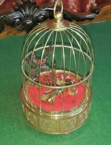 Mid 20th Century 3 Singing Bird Box Cage Automaton Music Box Watch Video