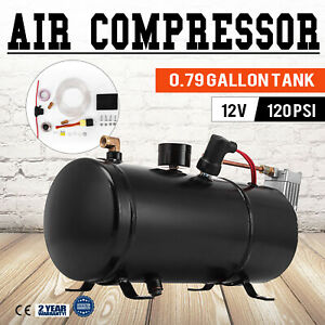 Air Compressor 120psi 12v Tank Pump For Air Horn Cover 40 Psi Top