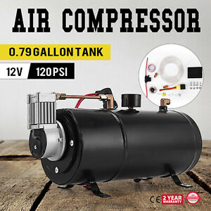Air Compressor 120psi 12v Tank Pump For Air Horn Cover Automatically Easy Great