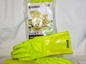 The Mudder 7301 Hex Armor Protective Glove Yellow Pvc Cotton Sz 8 New X 5 Pair