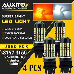 4x 3157 White Amber Dual Color Switchback Led Turn Signal Light Bulbs 120h Edo