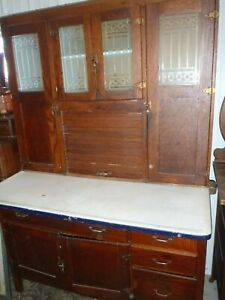 Rare Vintage Hoosier Cupboard Kitchen Cabinet Wooden Glass Antique Furniture