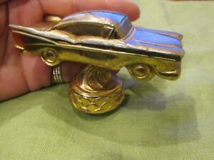 Vintage 1957 Chevy Gold Figural Car Auto Hood Ornament Or Rockabilly