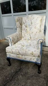 Vtg Wing Back Chair Ball Claw Feet Prof Restored Chintz And Velvet