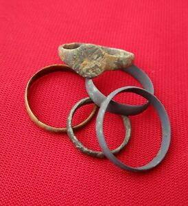 Ancient Roman Rings Wedding Ring S Lot With 5 Pieces Bronze No 25