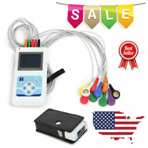 12 Channel Ekg ecg Holter System 24hour Recorder Monitor analyzer Software usa