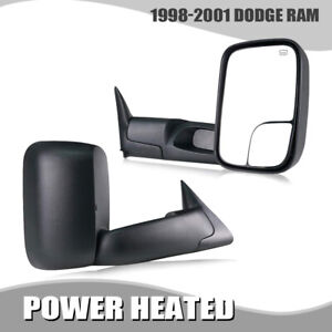 For 98 01 Dodge Ram 1500 2500 3500 Flip Up Power Heated Towing Mirrors