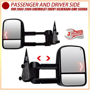 Fit 2003 06 Chevy Silverado Sierra Power Heated Arrow Signal Tow Mirrors