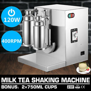 Double cup Bubble Boba Milk Tea Shaker All Stainless Steel Auto Shaking Machine