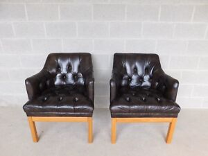 Schafer Bros Tufted Leather Barrel Back Club Chairs A Pair
