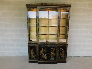 Drexel Heritage Et Cetera Chinoiserie Decorated Lighted China Cabinet 55 W