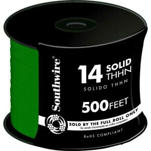 500 Ft 14 Green Solid Cu Thhn Wire Southwire Copper Wiring Gauge Building Awg