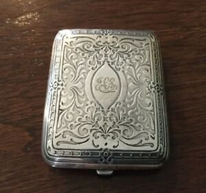 Antique Tiffany Co Sterling Silver Match Case Card Case