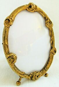 Quality Vintage Rose Small Gold Gilt Picture Frame Easel Back Miniature Convex