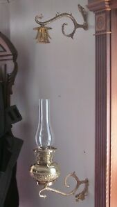 Antique Vintage Brass B H Oil Lamp Font Chandelier Smoke Bell Wall Mount Arms