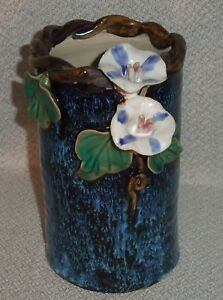 Morning Glory Chinese Vase Brush Pot Handcrafted Clay By Ming Jia Art Pottery