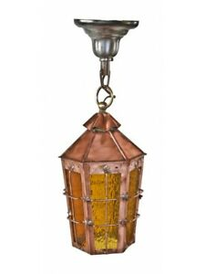 1930s Radiant Multifaceted Copper Pendant Porch Light With Crackled Amber Glass
