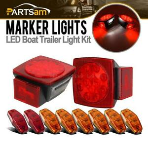Universal 2xred Square Stop Turn Tail Light 8xamber red Side Marker Light Sealed