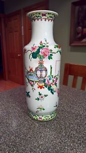 Old Chinese Hand Painted Porcelain Tall Vase Drilled For Lamp