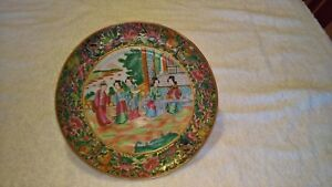 Antique Chinese Famile Rose Plate With Court Scene 9