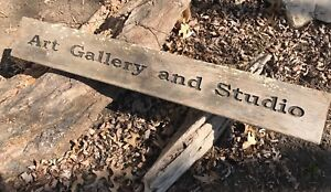 Western Antique Art Gallery And Studio Double Sided Hanging Wood Sign Old Rustic