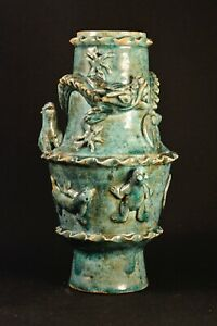 Antique Chinese Green Glaze Vase With Different Animals 10 Inches Tall
