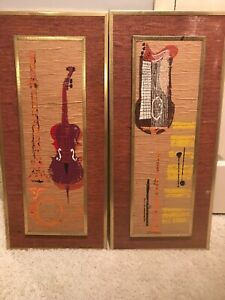 Mid Century Modern Grasscloth Framed Pair Art Musical Instruments