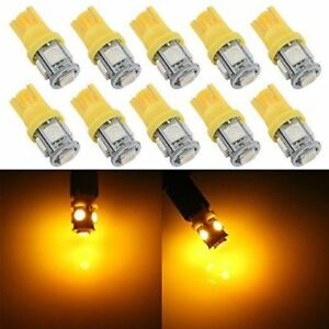 500x 24v Yellow amber T10 Wedge 5 smd 5050 Led Light Bulb W5w 2825 158 192 168