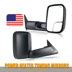 L R For 98 01 Dodge Ram 1500 2500 3500 Extend Flip Up Power Heated Towing Mirror
