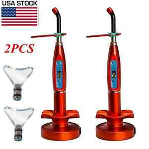 2pcs Dental Wireless Led Curing Light Red With Whitening Tip 1500mw Us Stock