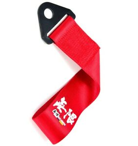 Jdm High Strength Mugen Tow Strap For Front Rear Bumper Towing Hook Red