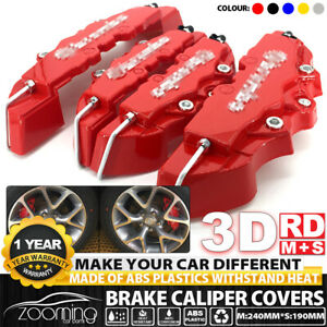 4x Auto Disc Brake 3d Cars Parts Caliper Covers Kit Front Rear Red Universal M S