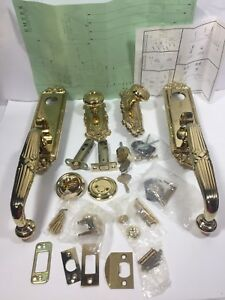 Emteck Ribbon Reed Brass Door Set Hardware Lot Model 4711 Parts Lot