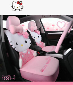 New Pink Hello Kitty Car Seat Cover Set Warm Plush Cushion Accessories Interior