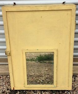 Antique Primitive Mustard Yellow Paint Wood Bathroom Apothecary Mirror Cabinet