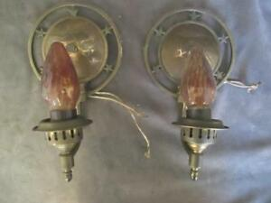 Vintage Brass Wall Sconces Star Design Amber Flame Bulbs Ksc84