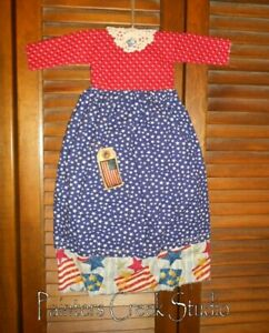 Primitive Americana Stars Flag Dress Grungy Decor Patriotic July 4th