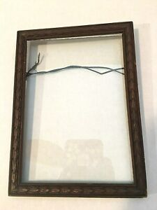 Antique Wooden Brown Picture Frame With Carved Detail Glass 5 X7