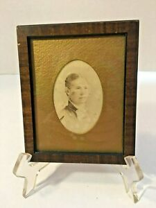 Vintage Wooden Brown Picture Frame W Glass Antique Picture 3 5 X4 5