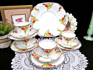 Rosina Tea Cup And Saucer Trio Painted Tulip Set Of Teacups Cake Plate Teaset