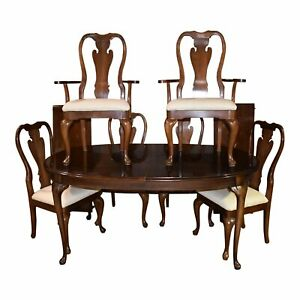 Vintage Thomasville Dining Table Queen Anne Style W 6 Chairs 2 Leaves