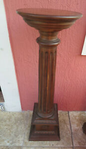 Antique Wood Pedestal Plant Stand